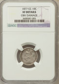 Seated Dimes, 1877-CC 10C -- Obv Damage -- NGC Details. XF. NGC Census: (0/340).PCGS Population (18/326). Mintage: 7,700,000. Numism...