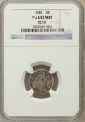 Seated Dimes, 1844 10C -- Bent -- NGC Details. VG. NGC Census: (4/63). PCGSPopulation (20/181). Mintage: 72,500. Numismedia Wsl. Pri...