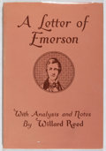 Books:Americana & American History, Ralph Waldo Emerson. A Letter of Emerson. Beacon Press,1934. First edition. In original dj. Jacket spine sunned...