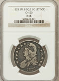 Bust Half Dollars, 1828 50C Square Base 2, Small 8, Large Letters Fine 15 NGC. O-120.NGC Census: (2/223). PCGS Population (6/519). (#6151)...