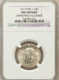Standing Liberty Quarters, 1917 25C Type One -- Improperly Cleaned -- NGC Details. UNC. NGC Census: (3/1132). PCGS Population (19/1555). Mintage: ...