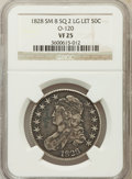 Bust Half Dollars, 1828 50C Square Base 2, Small 8, Large Letters VF25 NGC. O-120. NGCCensus: (4/215). PCGS Population (12/503). (#6151)...