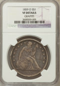 Seated Dollars, 1859-O $1 -- Graffiti -- NGC Details. VF. NGC Census: (7/485). PCGSPopulation (6/738). Mintage: 360,000. Numismedia Ws...