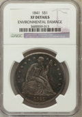 Seated Dollars, 1841 $1 -- Environmental Damage -- NGC Details. XF. NGC Census:(12/174). PCGS Population (31/228). Mintage: 173,000. Numis...