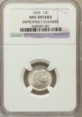 Barber Dimes, 1898 10C -- Improperly Cleaned -- NGC Details. UNC. NGC Census:(1/369). PCGS Population (7/394). Mintage: 16,320,735. Numi...