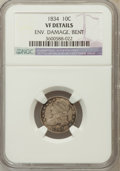Bust Dimes, 1834 10C Small 4 -- Environmental Damage, Bent -- NGC Details. VF.NGC Census: (2/282). PCGS Population (0/185). Mi...