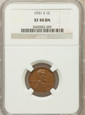 Lincoln Cents, 1931-S 1C XF40 Brown NGC NGC Census: (244/1554). PCGS Population(310/1399). Mintage: 866,000. Numismedia Wsl. Price for pr...