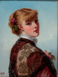 19th Century European:Pre-Raphaelite, BRITISH SCHOOL (19th Century). Woman with a Lace Shawl,circa 1880. Oil on canvas. 12 x 9 inches (30.5 x 22.9 cm). Monog...