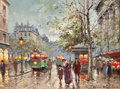 Fine Art - Painting, European:Modern  (1900 1949)  , ANTOINE BLANCHARD (French, 1910-1988). Paris Street Scene.Oil on canvas. 12 x 16 inches (30.5 x 40.6 cm). Stamped and m...