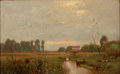 Fine Art - Painting, American, JOHN FRANCIS MURPHY (American, 1853-1921). Country Landscapewith Cottage. Oil on canvas. 10 x 16 inches (25.4 x 40.6 cm...