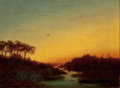 19th Century European:Landscape, GERMAN SCHOOL (19th Century). River at Sunset. Oil oncanvas. 14-1/2 x 19-1/2 inches (36.8 x 49.5 cm). German canvasmak...
