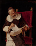 Fine Art - Painting, European:Other , ARNALDO TAMBURINI (Italian, 1843-1901). A Cleric Reading,Florence. Oil on canvas. 12-1/4 x 10 inches (31.1 x 25.4 cm)....