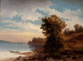 Fine Art - Painting, American:Other , H. KOECK KOECK (Austrian/American, 19th Century). Fishermen atthe Water's Edge. Oil on canvas. 16-1/2 x 22-1/2 inches (...