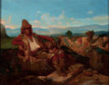 Fine Art - Painting, American:Other , CONTINENTAL SCHOOL (Late 19th/Early 20th Century). Man on theHillside. Oil on canvas . 7-3/4 x 9-3/4 inches (19.7 x 24....