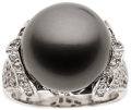 Estate Jewelry:Rings, Black South Sea Cultured Pearl, Diamond, White Gold Ring. ...