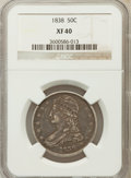 Reeded Edge Half Dollars: , 1838 50C XF40 NGC NGC Census: (42/795). PCGS Population (101/762).Mintage: 3,546,000. Numismedia Wsl. Price for problem fr...