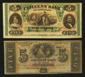 Obsoletes By State:Louisiana, New Orleans, LA- Citizens' Bank of Louisiana $5 Two Examples. ... (Total: 2 notes)