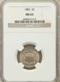Shield Nickels: , 1882 5C MS63 NGC NGC Census: (124/515). PCGS Population (254/601).Mintage: 11,476,000. Numismedia Wsl. Price for problem f...