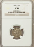 Three Cent Nickels: , 1882 3CN XF40 NGC NGC Census: (4/65). PCGS Population (6/120).Mintage: 22,200. Numismedia Wsl. Price for problem free NGC/...