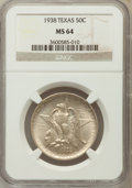 Commemorative Silver: , 1938 50C Texas MS64 NGC NGC Census: (164/590). PCGS Population(359/613). Mintage: 3,780. Numismedia Wsl. Price for problem...