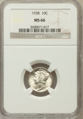 Mercury Dimes: , 1938 10C MS66 NGC NGC Census: (287/196). PCGS Population (451/112).Mintage: 22,198,728. Numismedia Wsl. Price for problem ...