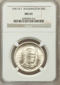Commemorative Silver: , 1947 50C Booker T. Washington MS65 NGC NGC Census: (403/135). PCGSPopulation (636/167). Mintage: 100,017. Numismedia Wsl. ...