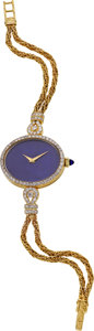 Estate Jewelry:Watches, Swiss Lady's Lapis Lazuli, Diamond, Gold Wristwatch, Circa 1968. ...