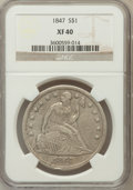 Seated Dollars: , 1847 $1 XF40 NGC NGC Census: (22/336). PCGS Population (56/403).Mintage: 140,750. Numismedia Wsl. Price for problem free N...