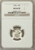 Mercury Dimes: , 1936 10C MS64 Full Bands NGC NGC Census: (67/453). PCGS Population(321/1570). Mintage: 87,504,128. Numismedia Wsl. Price f...