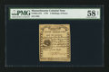 Colonial Notes:Massachusetts, Massachusetts 1779 4s 6d PMG Choice About Unc 58 Net.. ...