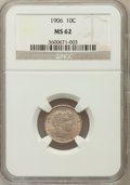 Barber Dimes: , 1906 10C MS62 NGC NGC Census: (50/207). PCGS Population (70/248).Mintage: 19,958,406. Numismedia Wsl. Price for problem fr...