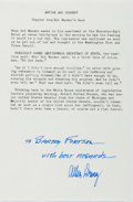 Autographs:Authors, Allen Drury (1918-1998, American Writer). Signature with Inscription on Typed Excerpt from Advise and Consent. Near ...