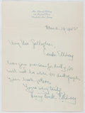 Autographs:Authors, Lucy Buck Ellsberg [Wife of Rear Admiral Edward Ellsberg(1891-1983, American Author)]. Autograph Letter Signed. Verygood....