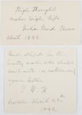 Autographs:Authors, Julia Ward Howe (1819-1910, American Abolitionist and Author of The Battle Hymn of the Republic). Two Autograph Notes Signed, ...