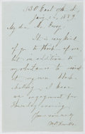 Autographs:Authors, W. D. Howells (1837-1920, American Writer). Autograph LetterSigned. Very good....