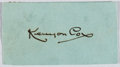 Autographs:Artists, Kenyon Cox (1856-1919, American Artist and Critic). ClippedSignature. Very good....
