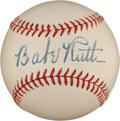 Autographs:Baseballs, The Finest Babe Ruth Single Signed Baseball Known, PSA/DNA Mint+9.5....