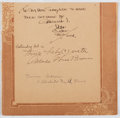 Autographs:Artists, Dean Cornwell (1892-1960, American Illustrator). Signature onPartial Leaf from Guest Book. Very good....