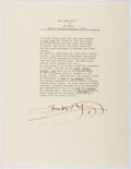 Autographs:Authors, Tom Wolfe (1931- , American Writer). Signed Excerpt from The Right Stuff. Near fine....
