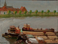 Fine Art - Painting, American:Modern  (1900 1949)  , ROGER VAN DAMME (American, b. 1921). Barges of the River,1946. Oil on canvas. 18 x 24 inches (45.7 x 61.0 cm). Signed a...