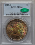 Peace Dollars, 1923-S $1 MS64+ PCGS. CAC....