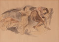 Works on Paper, RAPHAEL SOYER (American, 1899-1987). Two Women Resting. Watercolor and charcoal pencil on paper. 10 x 14 inches (25.4 x ...