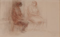 Fine Art - Work on Paper:Drawing, HAROLD ALTMAN (American, 1924-2003). Seated Man and Woman.Ink on paper . 5 x 8-1/2 inches (12.7 x 21.6 cm). Signed lowe...