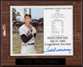 Baseball Collectibles:Photos, Ted Williams Signed Photograph Plaque Display....