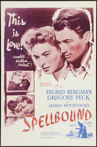 "Spellbound (Selznick, R-1956). One Sheet (27"" X 41""). Hitchcock"