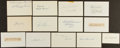 Baseball Collectibles:Others, Baseball Greats Signed Index Cards and Cut Signatures Lot of 13....