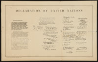 """World War II Poster (U.S. Government Printing Office, 1942 ). United Nations Declaration Poster (28"""" X 17.75"""")..."""