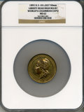 Expositions and Fairs, 1893 World's Columbian Exposition, Liberty Head High Relief MS62 NGC. Eglit-101. Gilt bronze, 50mm. Chicago, IL....