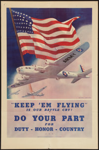 "World War II (U.S. Government Printing Office, 1942). Propaganda Poster (25"" X 38""). ""Keep 'Em Flying.&qu..."
