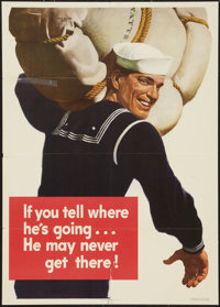 "World War II Poster ""If You Tell Where He's Going...He May Never Get There!"" (U.S. Government Printing Office..."